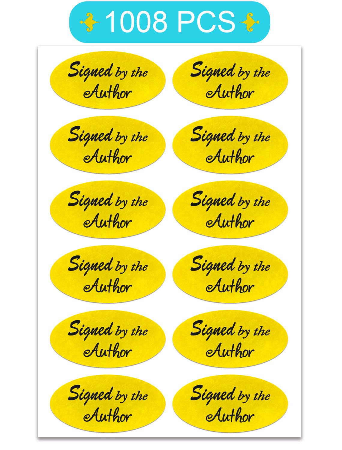 Signed by The Author Stickers, 1''×2'' Oval Bright Gold Foil Signed Sticker - 1008 Labels/Pack by SMARSTICKER