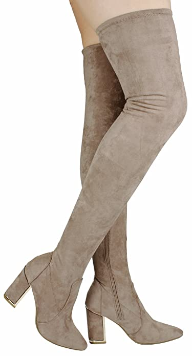 54bba62f72a Amazon.com | J.J.F Shoes Women 01S Taupe Over Knee Soft Faux Suede ...