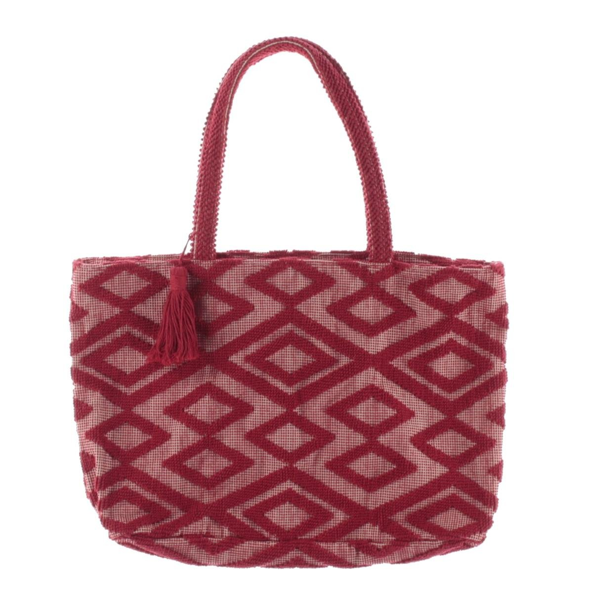 Isota Womens Pattern Shopper Tote Handbag Red Extra Large