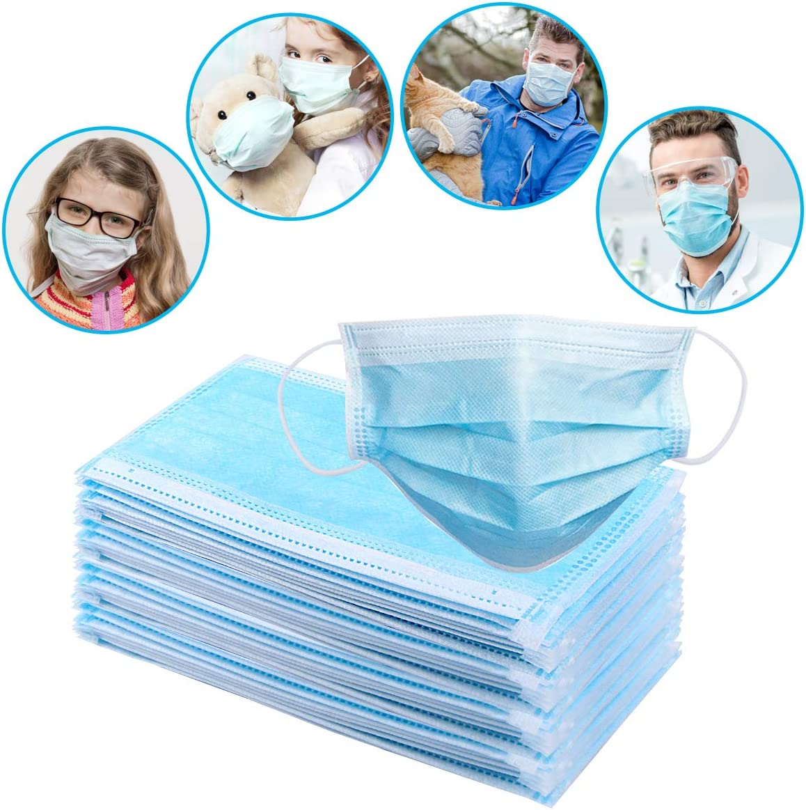 50 Pieces dust Protection Disposable Face No Breathing Valve FDA certific Thick 3Ply