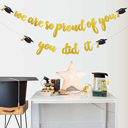 Purp Pie We are so Proud of You Graduation Decorations Banner Black and Gold Graduation Party Theme Decoration DIY Kit Set