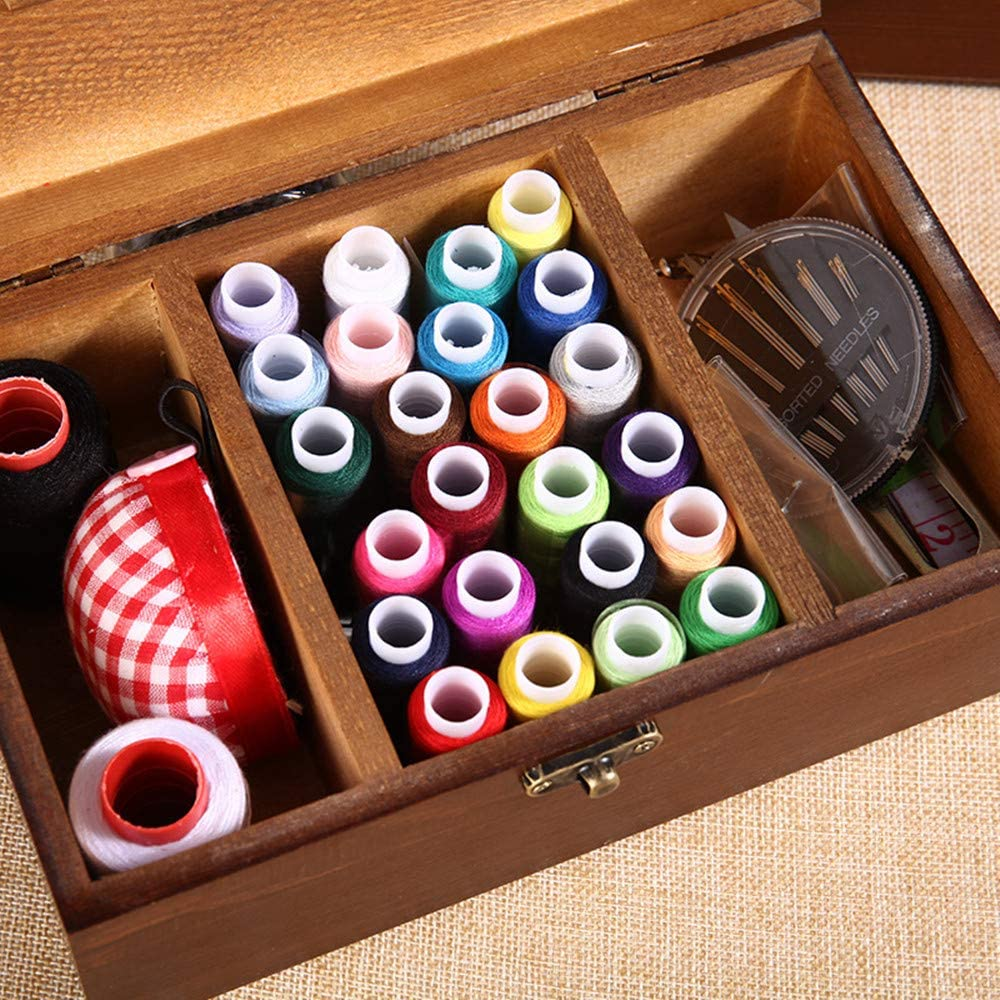 SunHanla 110 Piezas Kit de Costura Cesta de Coser de Madera con Accesorios Vintage Caja de Organizaci/ón Port/átil Coser Set para Mon Grandma Ni/ña Mujeres Chicas y Uso de Emergencia Viajes #3