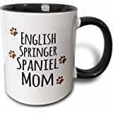 3dRose mug_154114_4 English Springer Spaniel Dog Mom Doggie by breed brown muddy paw prints doggy lover pet owner Two Tone Black Mug, 11 oz, Black/White