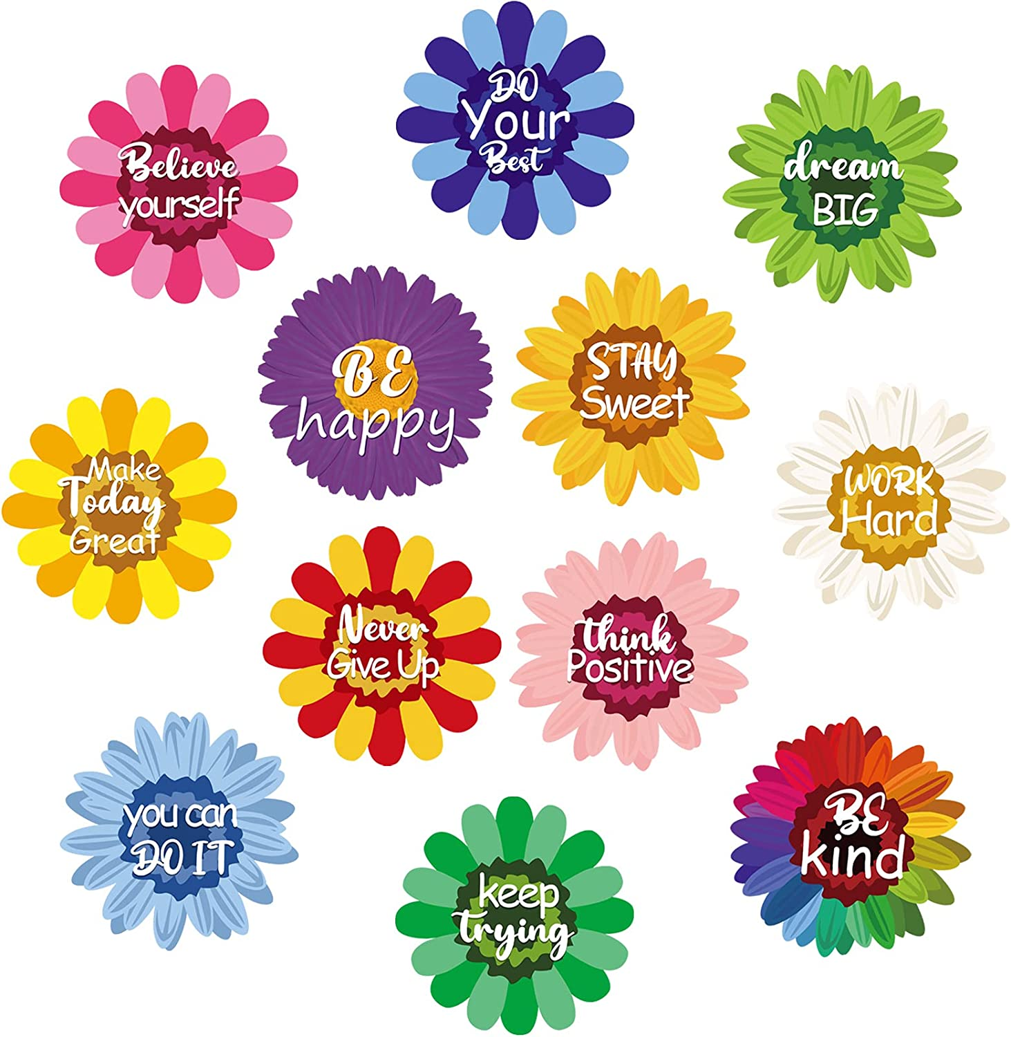 36 Pieces Summer Sun Flower Cutouts with Growth Mindset Confetti Positive Sayings Accents Colorful Flowers Cutouts Motivational Inspirational Quote Cards for Classroom Bulletin Board Decor