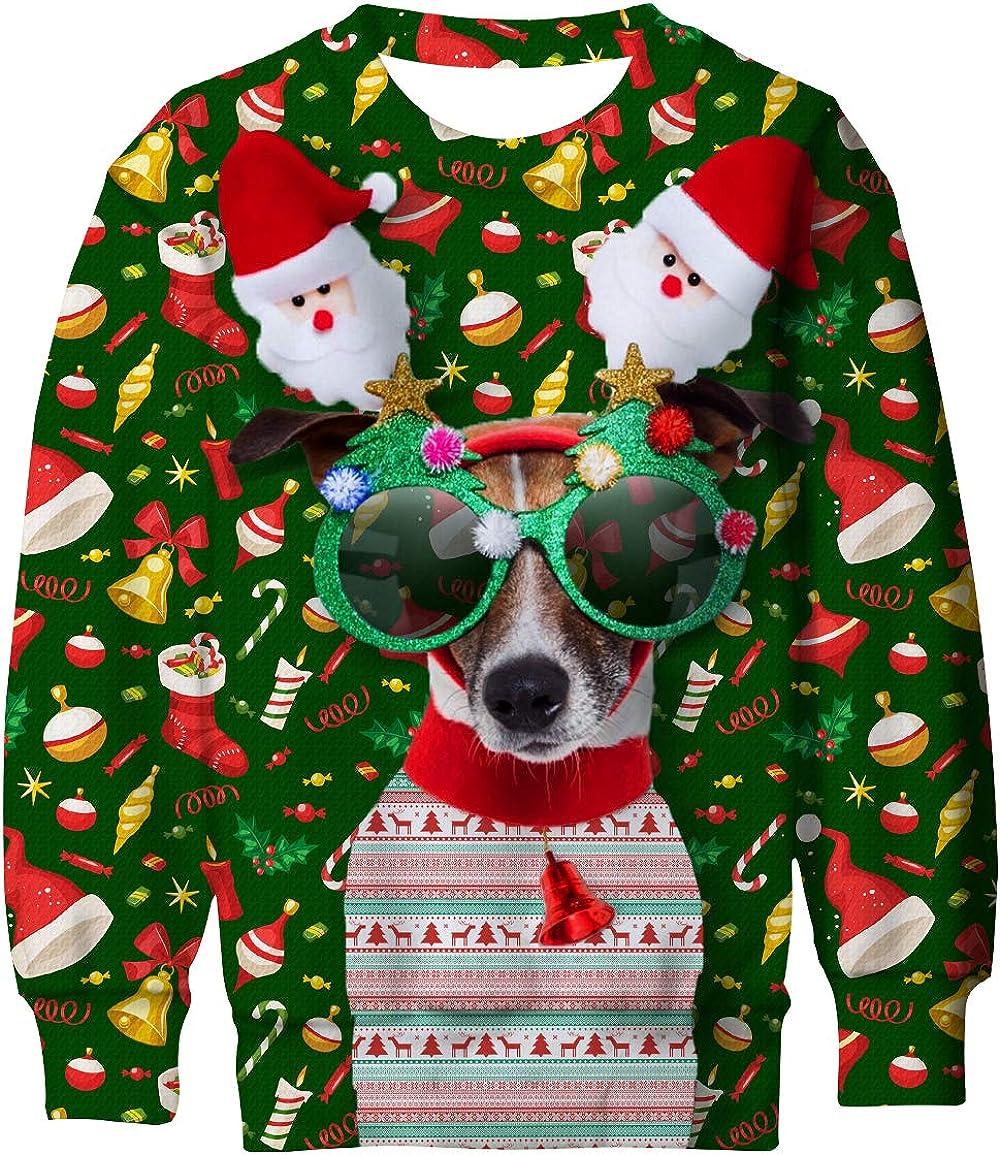 Lovekider Kids Ugly Christmas Sweater Shirt Funny 3D Xmas Pullover Sweatshirt Inner Fleece Size 4 16