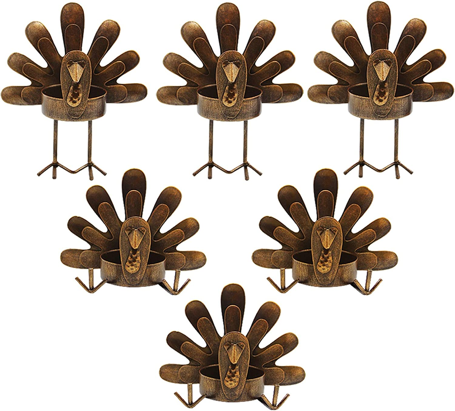 FORUP 6 Pack Metal Turkey Tea Light Candle Holders, Thanksgiving Decoration for Home, Turkey Candle Holder, Metal Candle Holder, Thanksgiving Candle Holder