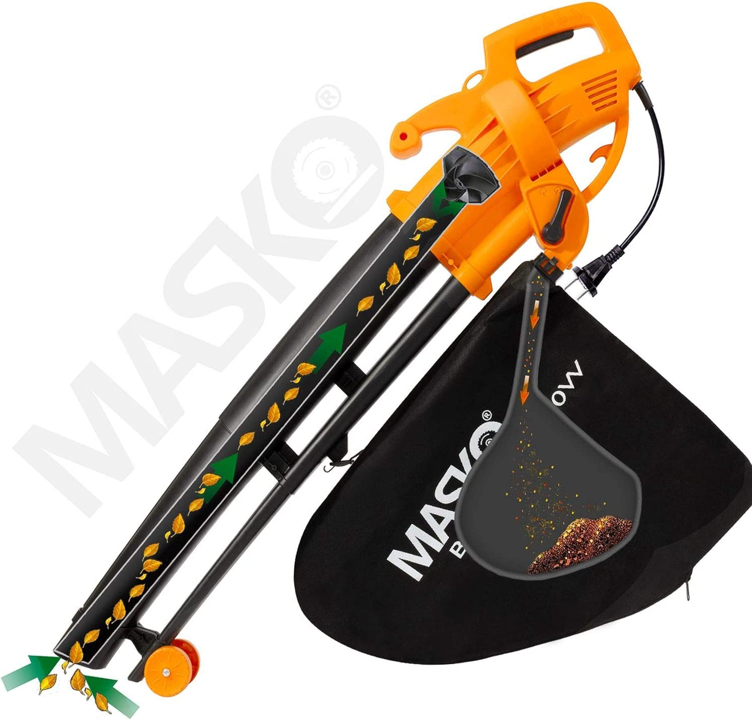 3 in 1 MASKO/® Elektro Laubsauger Schultergurt und Rollen Fangsack 45L 3000W Laubbl/äser Gartensauger Gartenbl/äser Orange