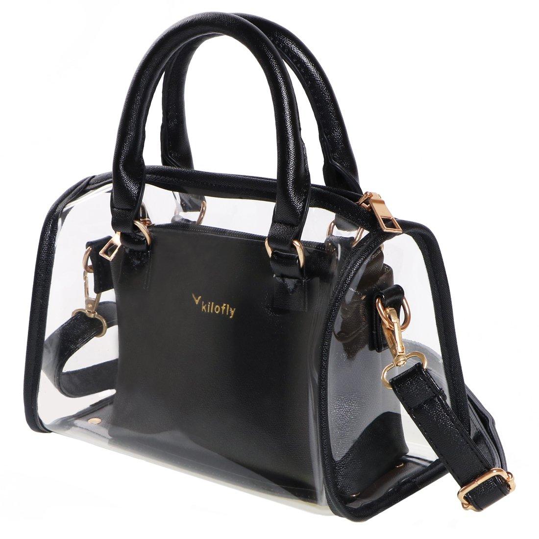 kilofly Women's 2-in-1 Clear Transparent Handbag Crossbody Purse Shoulder Bag