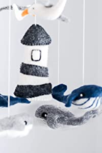 Whale Crib Mobile, Ocean, Whale, Underwater, Nautical Theme Nursery Mobile for Crib/High Seas/Little Sailor/Newborn Room Decoration/Anchor Mobile/Lighthouse Mobile/Navy Nursery
