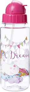 Unicorn Themed Water Bottle With Lid & Spill-Proof Flip-Top Straw - Reusable Shatterproof Hydration Drinking Tumbler - BPA Free Dishwasher Safe Cup Featuring Colorful Artwork