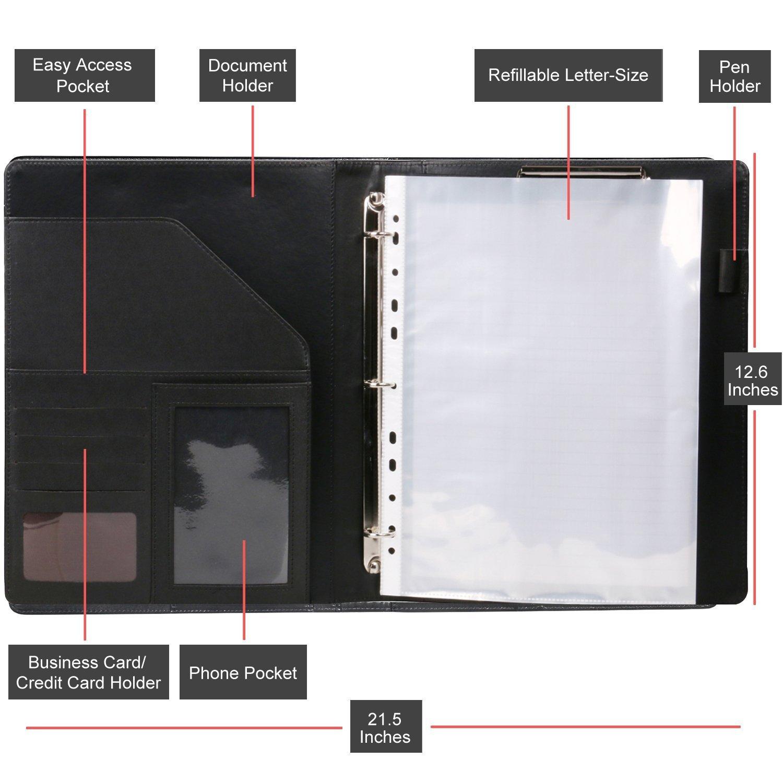Z PLINRISE Luxury Marble Portfolio File Folder Document Resume Organizer,Padfolio File Holder Folders Letter Size,Standard 3 Ring Binder with Clipboard (Marble Black) by Z PLINRISE (Image #3)