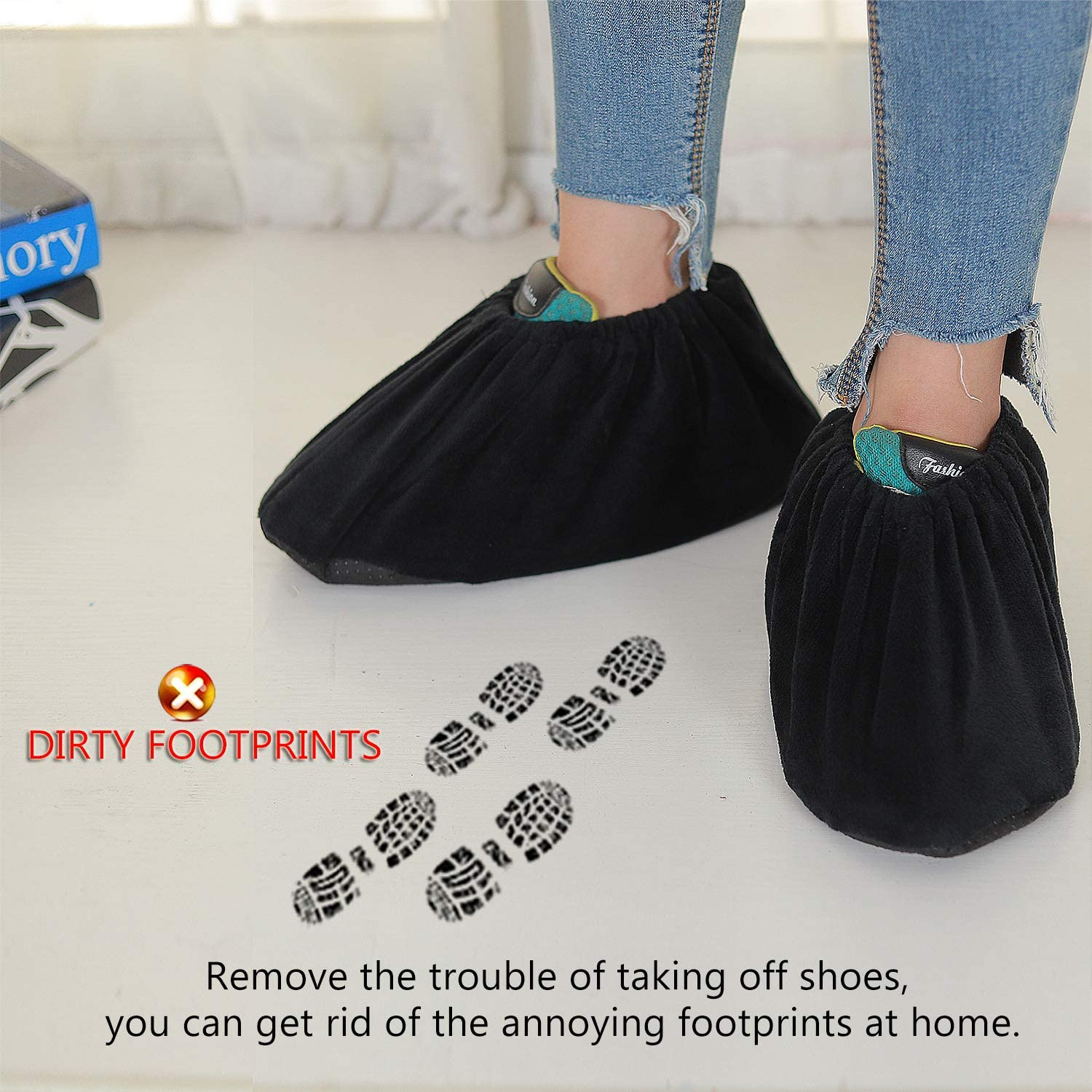 US 9-14 Black 10 Pairs Non Slip Washable Reusable Shoe Covers For Household Thickened Boot Covers