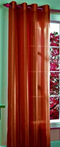 "Gorgeous Home 1 Panel Solid Brick Orange SEMI Sheer Window Faux Silk Antique Bronze Grommets Curtain Drapes MIRA (84"" Length)"