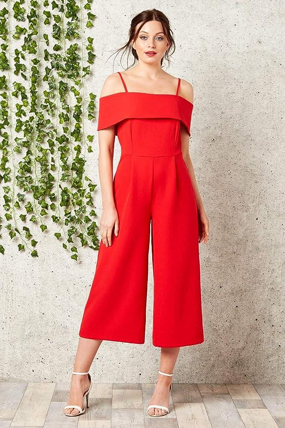 39ef664cc389 Roman Originals Women Bardot Jumpsuit - Ladies 3 4 Length Wide Leg Party  Clubbing Evening Stunning Classy Culotte Jumpsuits - Red - Size 20   Amazon.co.uk  ...