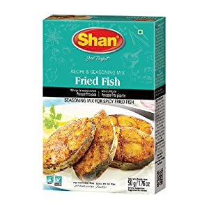 Shan Fried Fish Recipe and Seasoning Mix 1.76 oz (50g) - Spice Powder for Traditional Spicy Fried Fish - Suitable for Vegetarians - Airtight Bag in a Box