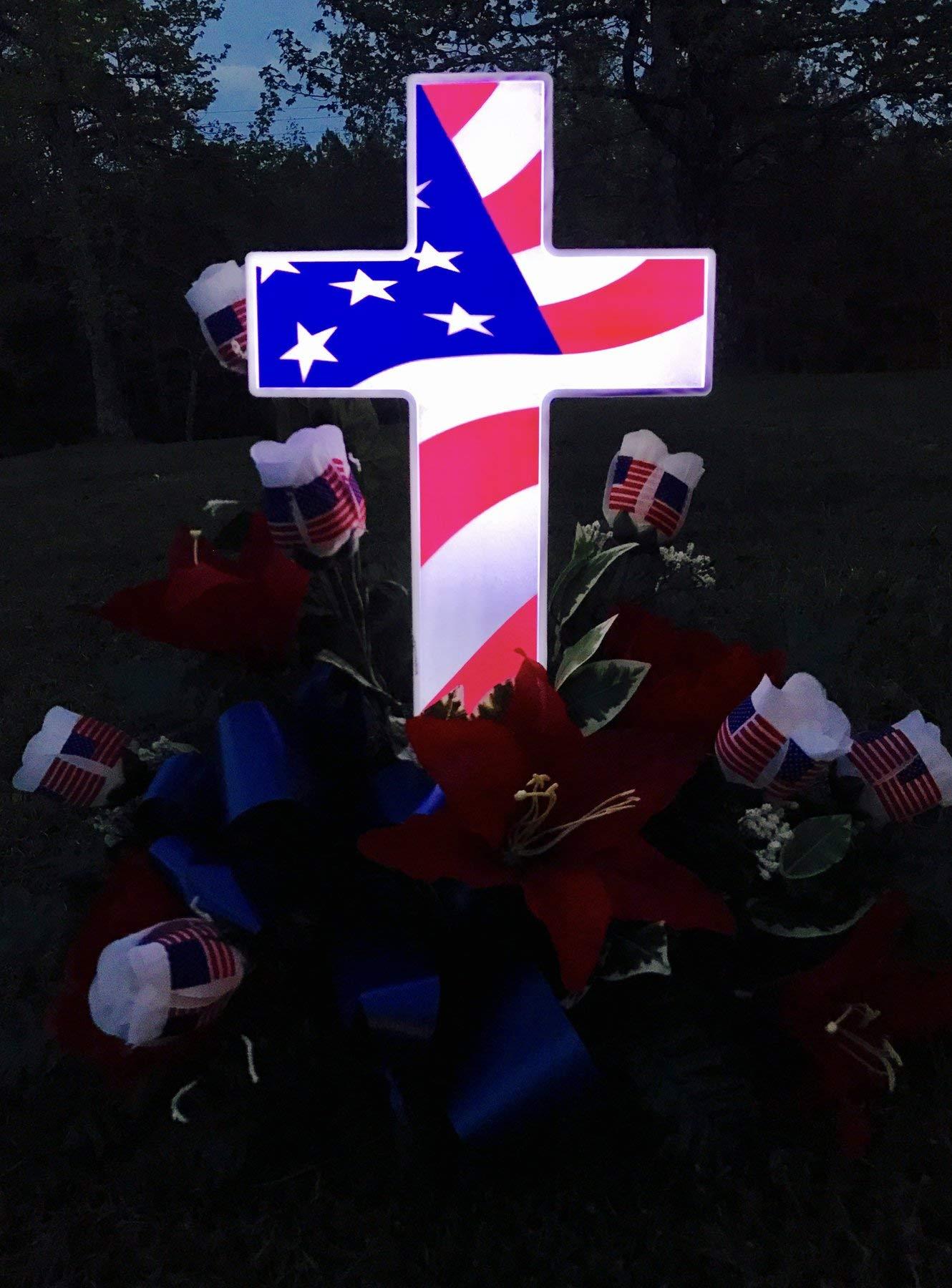 Solar-Lighted-American-Flag-Cross-by-Eternal-Light-Veteran-Cross-Decoration-Heartfelt-Cemetery-Memorial-14-x-10