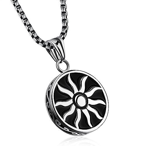 Mens Stainless Steel Faith Sun God Apollo Pendant Necklace High Polish Silver Tone