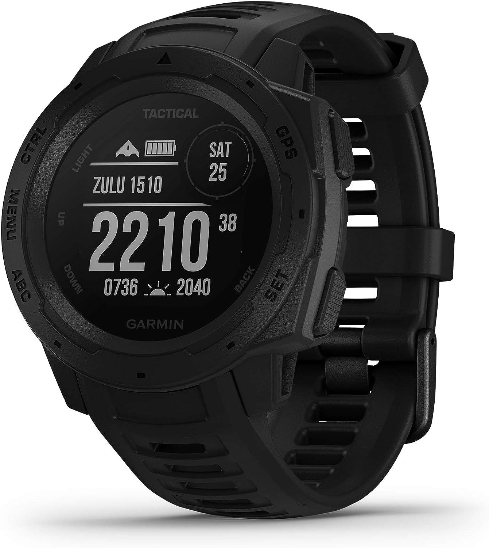Garmin Instinct Tactical Reloj con GPS para Actividades Al Aire Libre (Resistencia Frente a Golpes y Agua, Carcasa de Polímero Reforzado), Negro