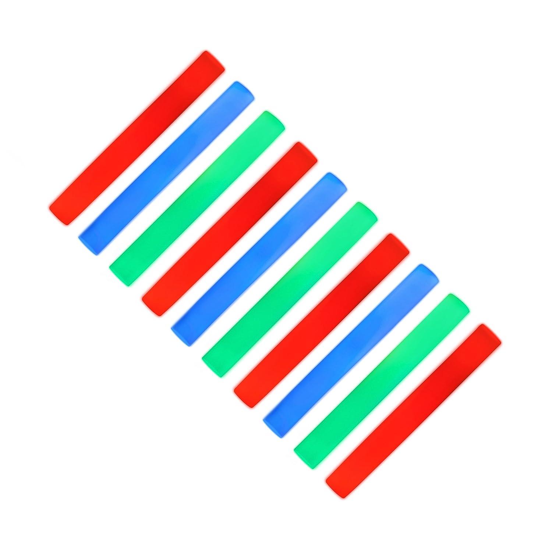 10 x Leuchtstab mit 3 LED, Schaumstoffstab 6 Effekte, Partystick mit Farbwechsel, rot / grün / blau rot / grün / blau Relaxdays