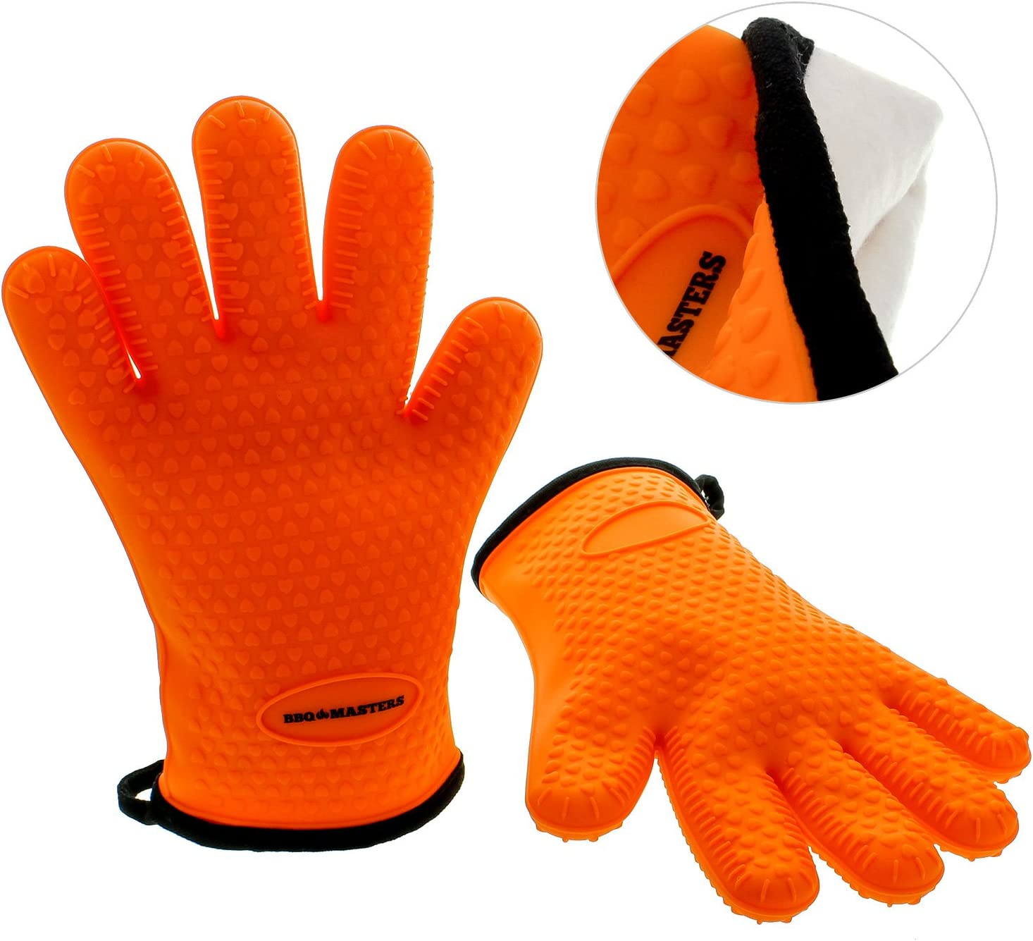 TCP Global BBQ Master Heat Resistant Silicone Cooking Gloves with Protective Insulated Cloth Lining - Safe Kitchen Oven Mitts for Baking, Handling Hot Pots & Pans - Ideal for Barbecue Grilling