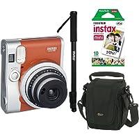 Câmera Instantânea Fujifilm Instax Mini 90 Marrom + Filme, Bolsa e Monopé