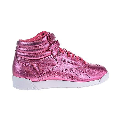 Reebok Freestyle Hi Metallic Women s Shoes Sharp Pink White cn0960 (5 B(M d4423d868e