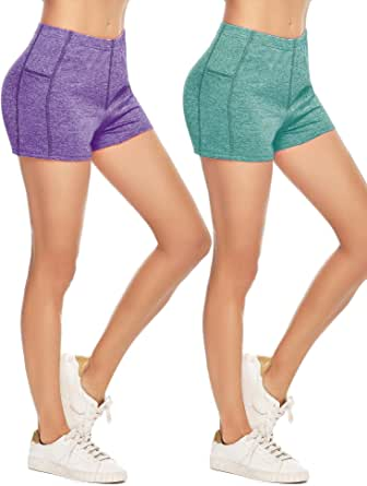 Aibrou Women Athletic Shorts, Yoga Sport Fitness Short Pant, Exercise Quick Dry Shorts (Pack of 2)