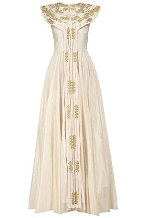 Ivory Zari Embroidered Front Open Flared Gown at Amazon Women\'s ...