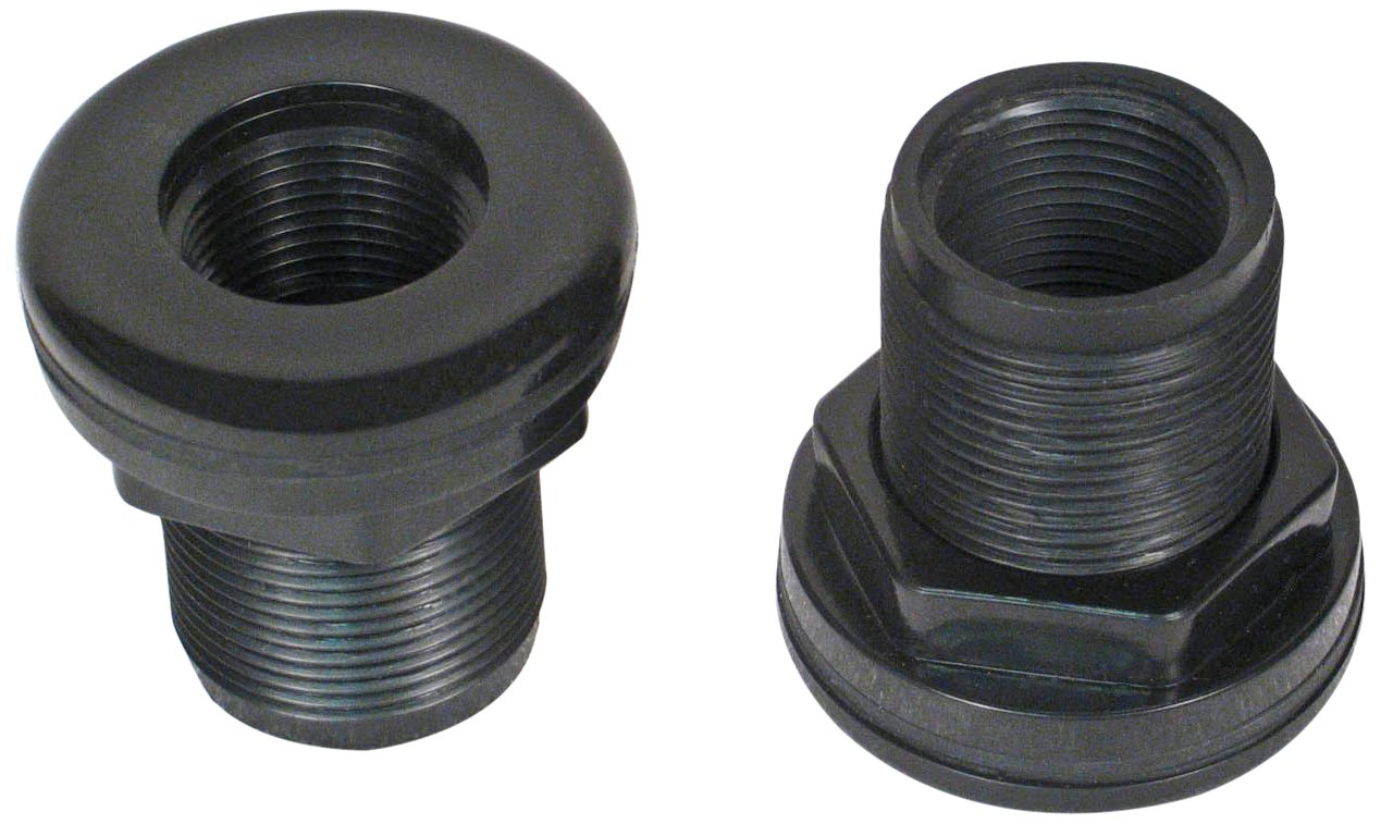CPR Aquatic 4 Count Thread by Thread ABS Bulkheads for Aquarium Filters, 0.75-Inch