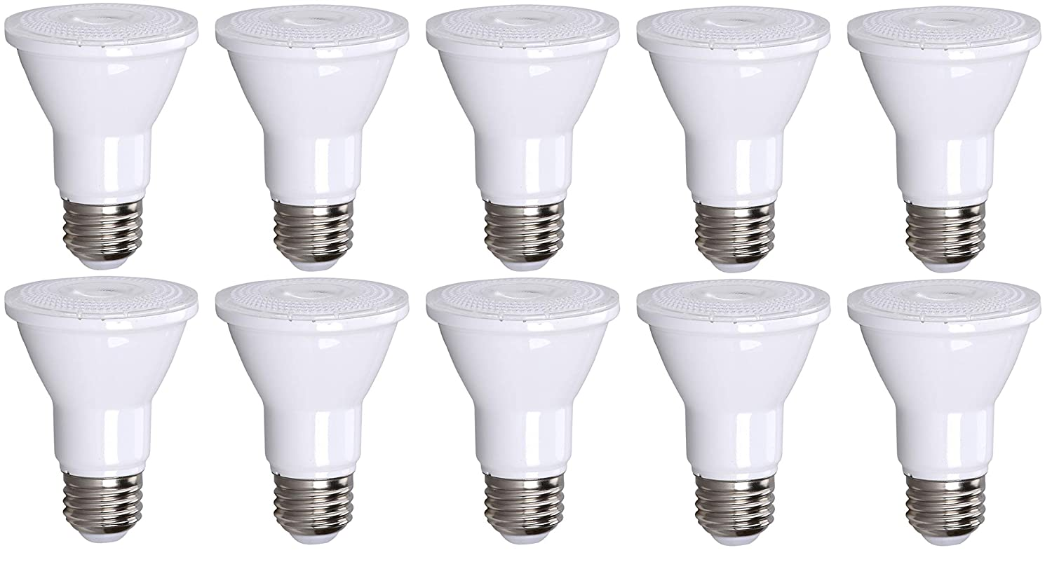 10 Pack PAR20 LED Bulb 75W Replacement, Bioluz LED Spot Light Bulb, 3000K Soft White, E26, 40 Degree Beam Angle, UL Listed