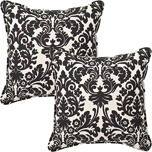 Pillow Perfect Outdoor Indoor Essence Onyx Throw Pillows, 18.5 x 18.5 , Black, 2 Pack
