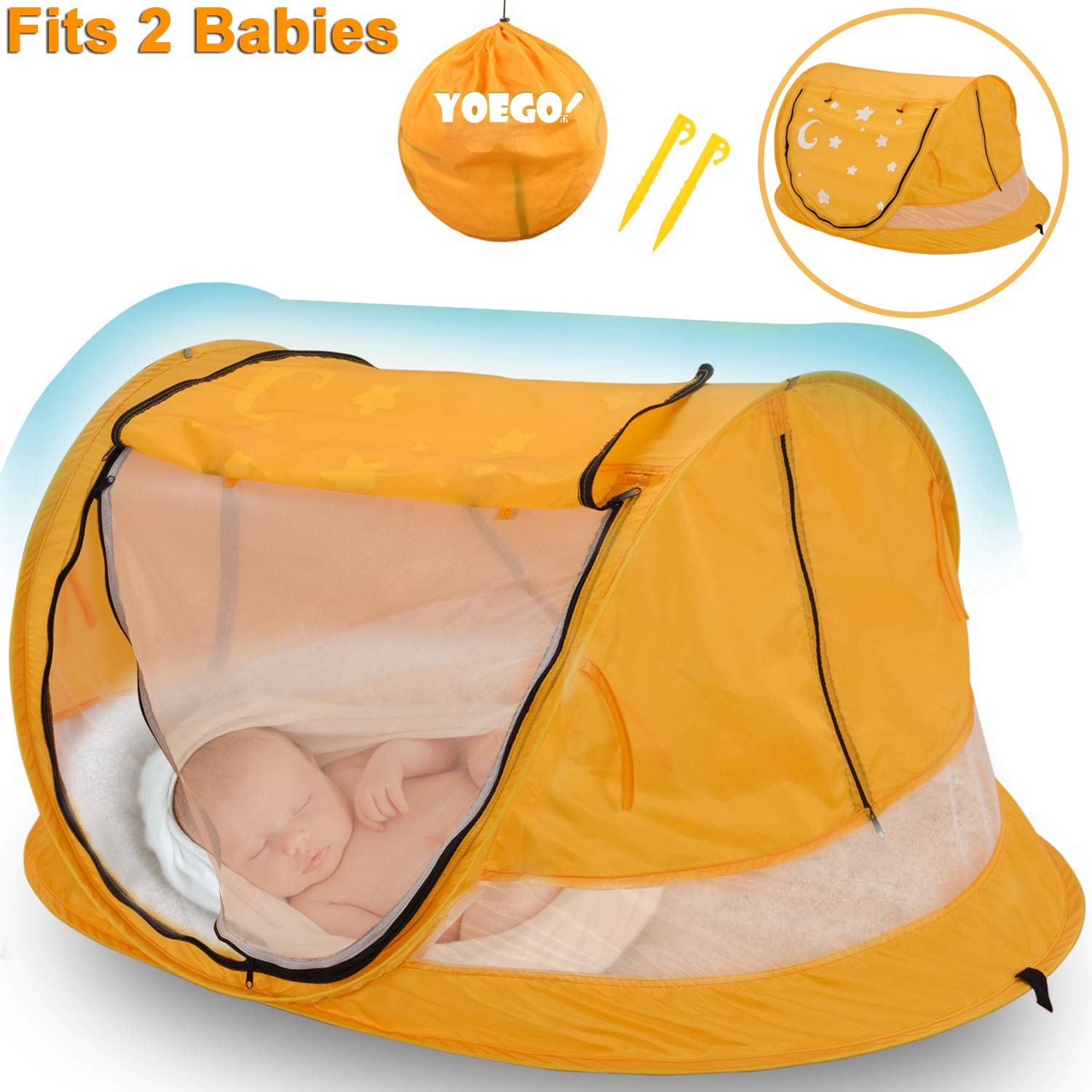 Baby Beach Tent, Yoego Large 53 x35 x23 Portable Baby Pop-Up Travel Tent, UPF 50 Sun Shelters Shade, Baby Travel Crib with Mosquito Net, No Pad