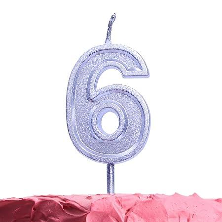Get Fresh Velas de cumpleaños de 6 años, Velas Plateadas ...