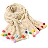 Butterme Kids Baby Girls Warm Winter Scarf Neck Warmer Knitting Wool Candy Colours Scarves Christmas Gift (Beige)
