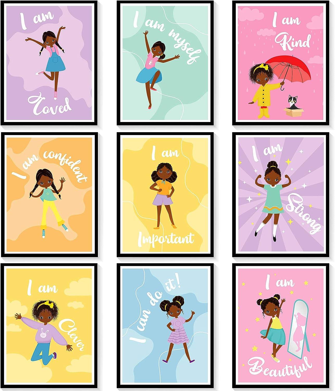 9 Pieces Motivational Black Girl Wall Poster Black Girl Art Poster African Girl Positive Quotes Poster Unframed Black Girls Art Prints Inspirational Quotes Girls Room Poster Wall Decor, 8 x 10 Inch