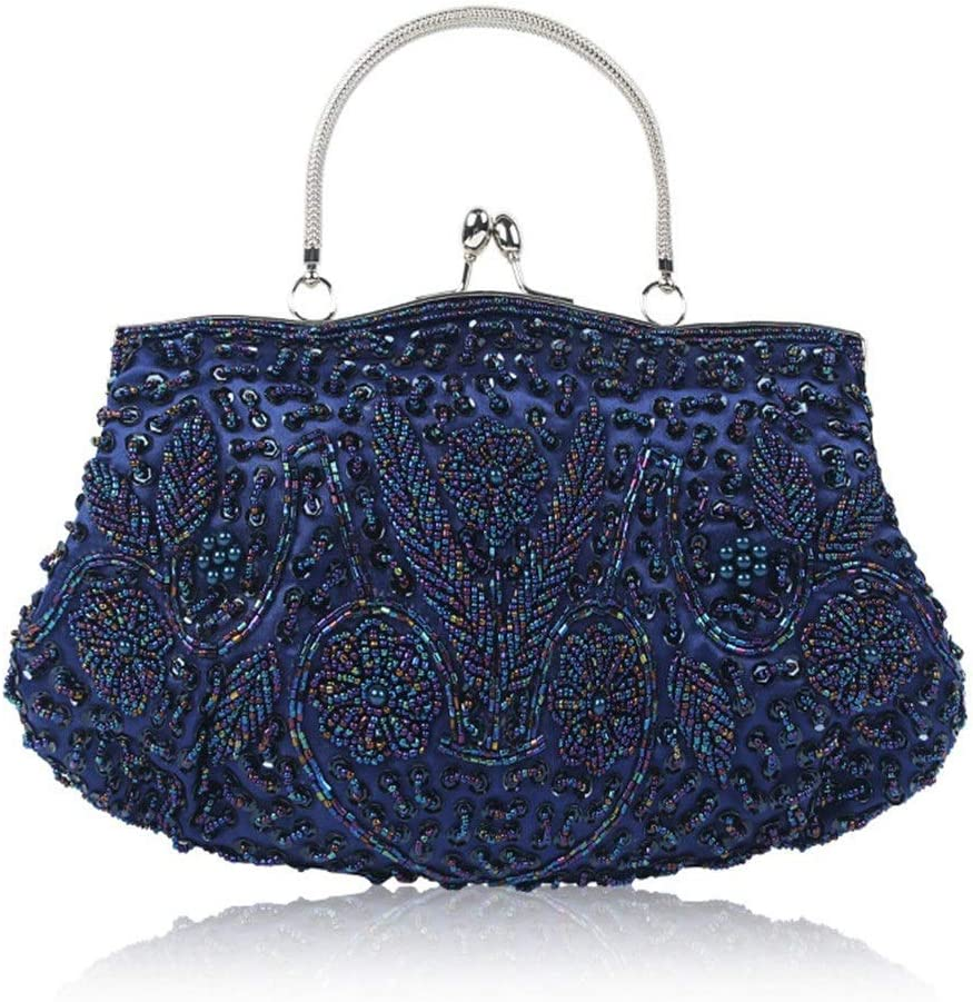 Amyannie Evening Bags Womens Bead Sequin Vintage Evening Bag Wedding Party Handbag Handbags Color : Pink, Size : Free Size