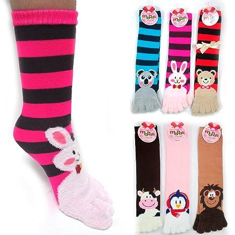 90c43a1933f Amazon.com  12 Pairs Toe Socks Calf Length Funny Feet Animal Womens ...