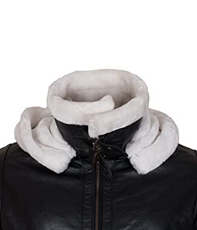 702734fee2c UNICORN Womens Sheepskin Flying Jacket Brown With Cream Fur Leather Coat #CF  at Amazon Women's Coats Shop
