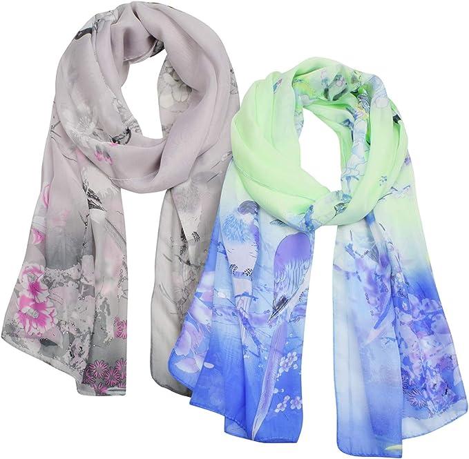 Ladies Feather Print Silk Chiffon Scarf Elegant Shawl Wrap Stole Maxi Soft Long