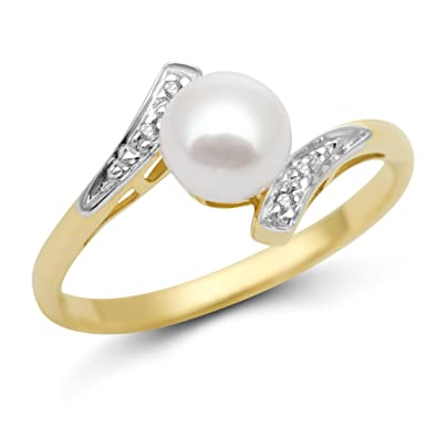 b93b2bf5dabd0 Miore MT058R 9 ct Yellow Gold Freshwater Pearl and Diamond Ring