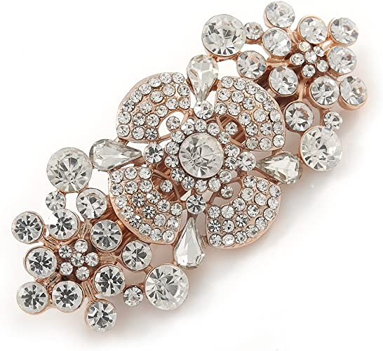 Delicate Flower Crystal Barrette French Hair Clip Grip with Diamante silver tone