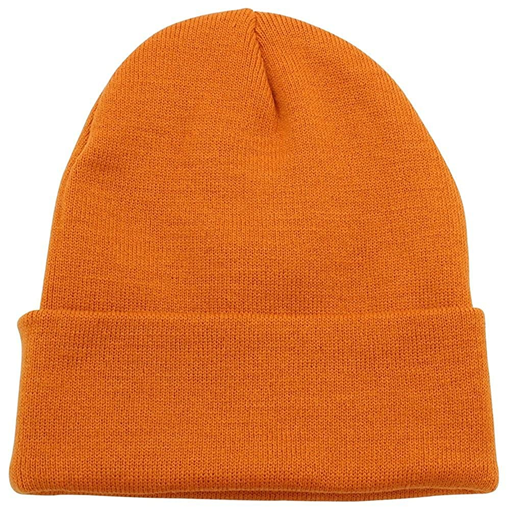 a71f5e8bfd8 PZLE Warm Winter Hat Knit Beanie Skull Cap Cuff Beanie Hat Winter Hats for  Men (Burnt Orange) at Amazon Men s Clothing store