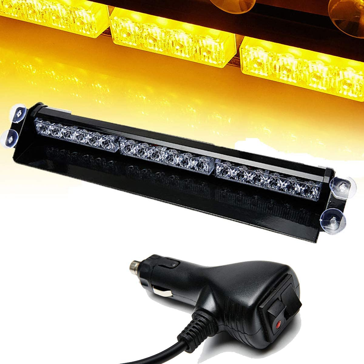SMALLFATW 12 LED 7 Flash Patterns High Intensity Emergency Vehicles Trucks Warning Traffic Advisor Strobe Light Mini Bar Fit for Dash//Interior Roof//Windshield with Suction Cups Amber