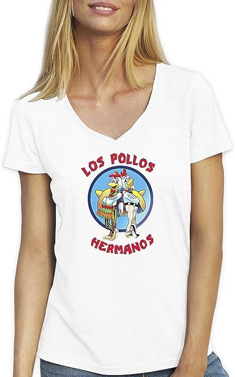 Los Pollos Hermanos Blanca T-Shirt Camiseta Cuello V para la Mujer X Large: Amazon.es: Ropa y accesorios