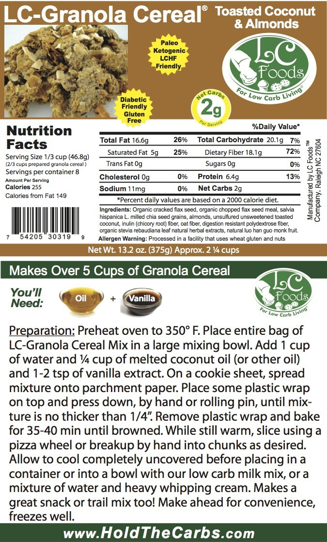 Low Carb Granola Cereal Mix - Toasted Coconut & Almond - LC Foods - All Natural - Paleo - Gluten Free - No Sugar - Diabetic Friendly - 13.2 oz