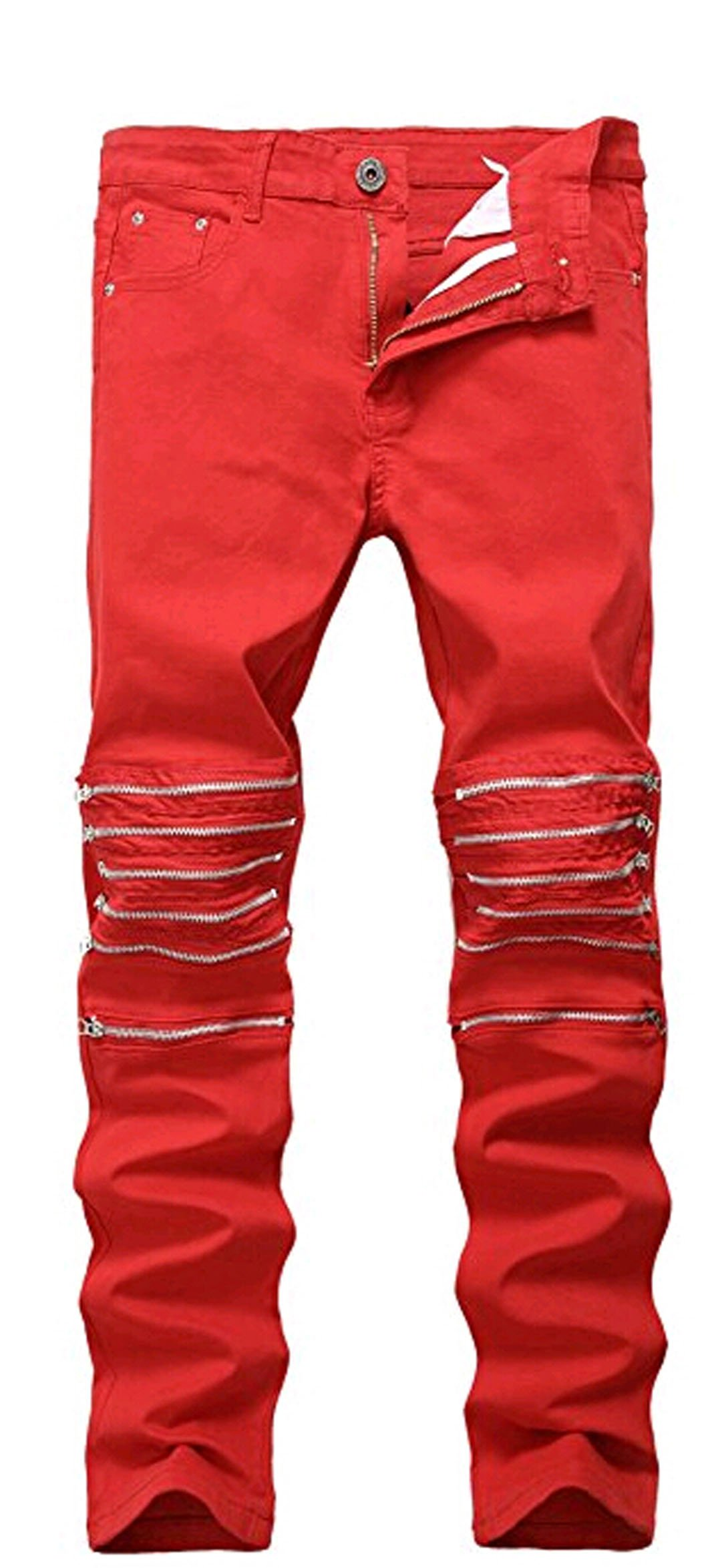 Tomblin Men's Ripped Skinny Distressed Destroyed Straight Fit Zipper Biker Jeans With Holes (W36, C)
