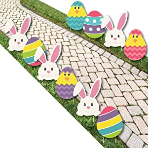 Hippity Hoppity - Easter Bunny & Egg Yard Decorations - Outdoor Easter Lawn Decorations - 10 Piece