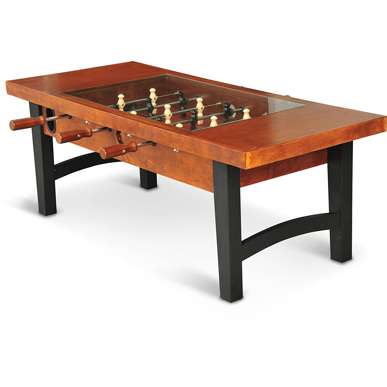 Amazon foosball soccer game wooden coffee table with tempered amazon foosball soccer game wooden coffee table with tempered glass tabletop kitchen dining geotapseo Image collections