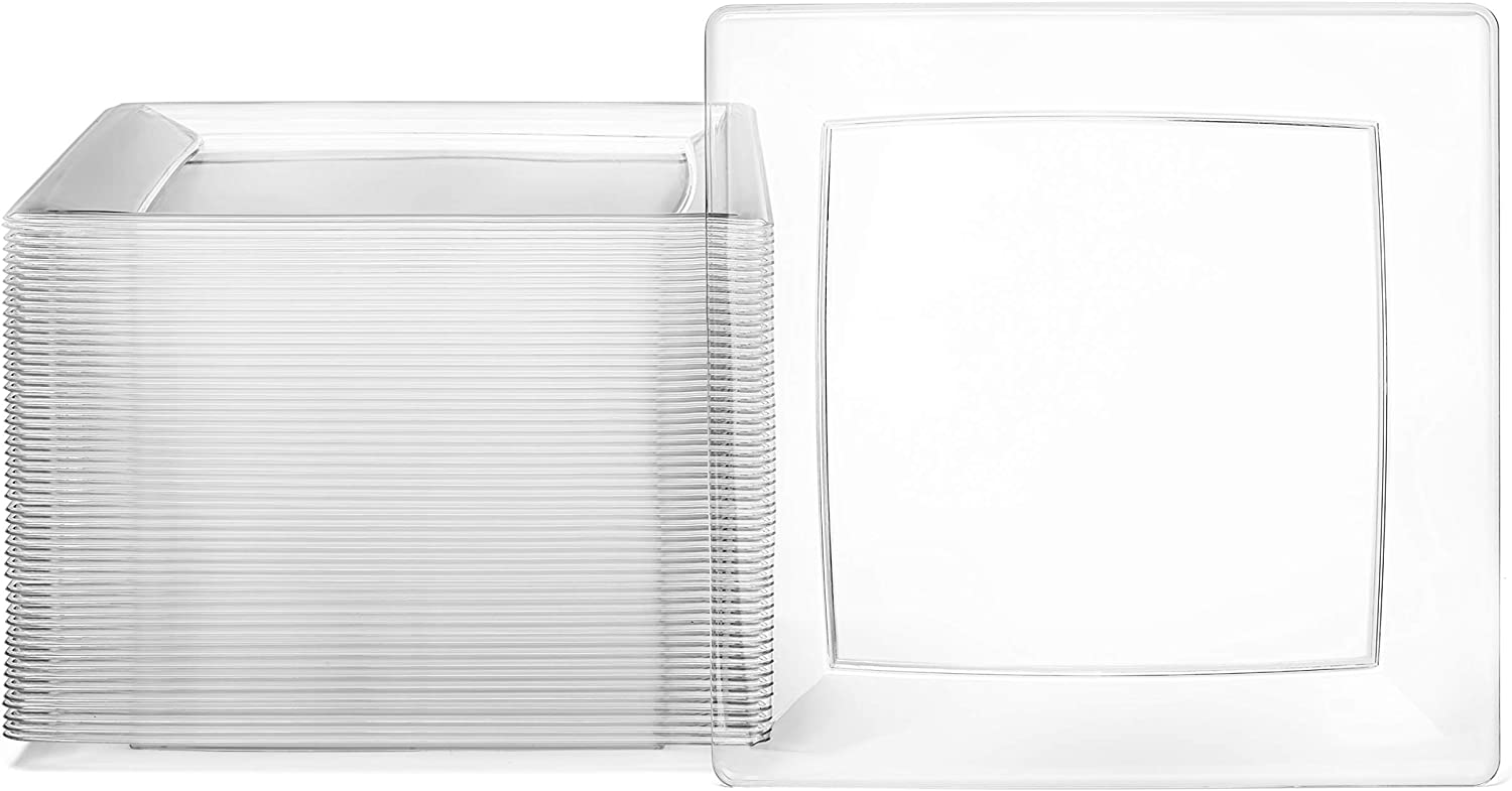 """Clear Square Plates Set by Oasis Creations - 6.5"""" - 50 count - Premium Hard Clear Disposable Plastic - Disposable and Reusable - Salad Plate - Appetizer Plate - Dessert Plate - Party Plate Set"""