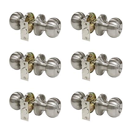 Probrico Privacy Interior Door Knobs Bed And Bath Handle Levers Keyless  Brushed Nickel Lockset 6 Pack